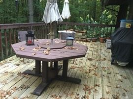 Outdoor table and umbrella