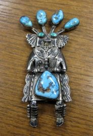 "4"" Navajo Turquoise & Silver Kachina Pin"