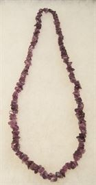 "28"" Polished Amethyst Stone Bead Necklace & Pin"