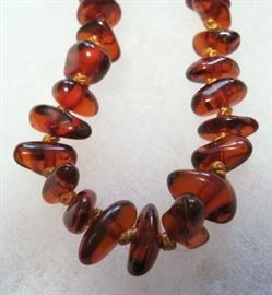 "24"" Amber Bead Necklace Natur-Bernstein Germany"