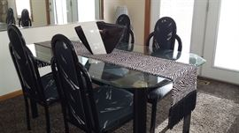 Iron and glass dining table w/4 chairs