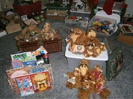 Assorted Alfs, old wicker trunk, old stuffed animals, seasonal merchandise and more.