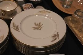 Lenox Harvest plates with Lenox Tuxedo cups and saucers