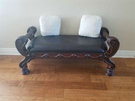 Beautiful Mahogany bench with leather seat
