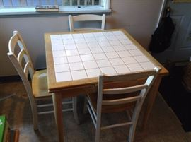 tile and wood table