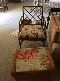 Bamboo chair / wicker footstool