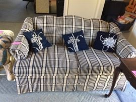 Blue Plaid Loveseat