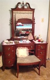 Bedroom Mahogany Vanity with mirror and bench