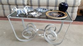 Wrought iron/glass side/coffee table.