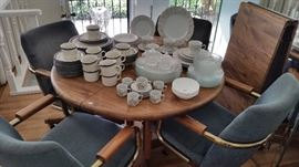 Vintage dining set.  China, stoneware and glass.