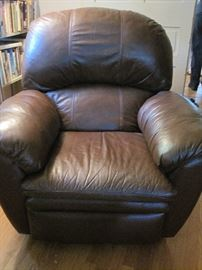 one of two nice leather recliners