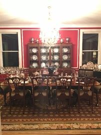 Sheraton breakfront ,  Sheraton banquet table,  set of 10 Chippendale dining room chairs