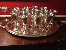 Set of Gorham silver goblets