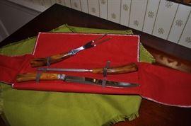 Vintage stag handle carver set
