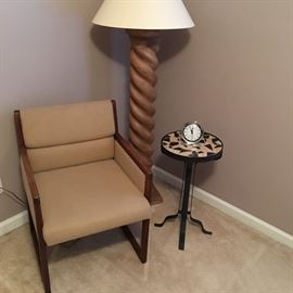 Office desk, floor lamp, and WROUGHT IRON MASAIC TOP TABLE/PLANT STAND