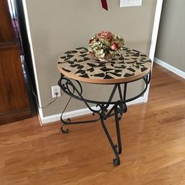 wrought iron mosaic top entry way table