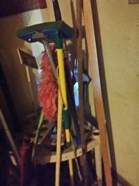 household brooms, mops, etc.