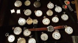 pocket watch selection, wrist watches incl Longines.  many of these are running.