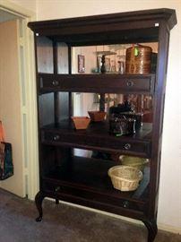 Mahogany wall unit with drawers