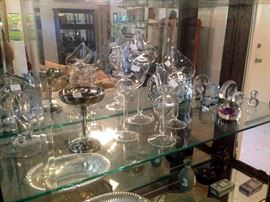 Crystal pieces along with items by Wedgewood
