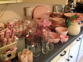 """Pink """"everything"""" for the kitchen! Dishes, serving bowls, knives"""