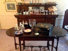 Antique side board, mahogany drop leaf table, decoratives, antique wooden boxes,