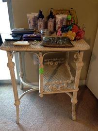 Victorian small white wicker desk