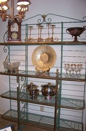 Wonderful bakers rack of iron, brass with glass shelving