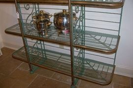 Very nice set of stainless chafing dishes with brass handles/knobs.