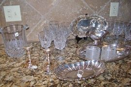 A large selection of crystal and silverplate -