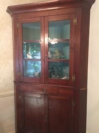 Antique corner cabinet with drawer original glass very nice large cabinet