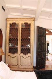"Custom Dark Walnut Bookcase with 14K Gold Leaf  125""H x 69""Wx 24""D"