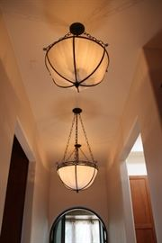 Drop dome chandeliers.  6 total