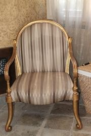 "Gold Gilded Upholstered Chair (2)   29""W x 43""H x 24""D"