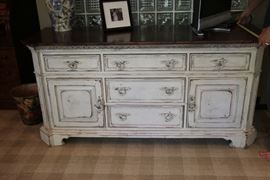 "Distressed white wood chest of drawers            71""Wx33""H x24""D"