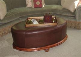 "Custom Leather ottoman/coffee table                                         45""w x26""D x 18""H"