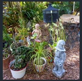 Tons of Great Yard Art, Cement Statuary, Old Cast Iron Mailbox and Loads of Beautiful Plants