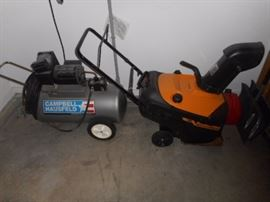 CAMPBELL HAUSFELD  20 GALLON AIR COMPRESSOR and     Poulan Pro 21 snow blower