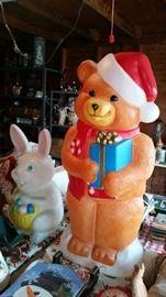 Lighted Christmas Bear & Easter Rabbit