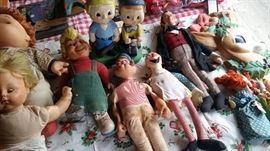 Vintage Dolls, Popeye, Dr. Doolittle, Big Boy Doll & hand puppets etc,