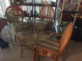 Rattan table, chairs