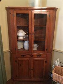 Vintage country corner cupboard
