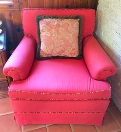 Contemporary Denim Red Arm Chair