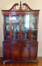 1940s Mahogany Queen Anne China Cabinet, Johnson Bros. Chinoiserie Polychrome Transferware Dishes, Crystal Decanters & Other Crystal