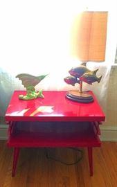 Mid Century Modern End Table (Painted Red Gloss), Royal Haeger Swordfish Vase, Mid C Modern Brass Fish Lamp