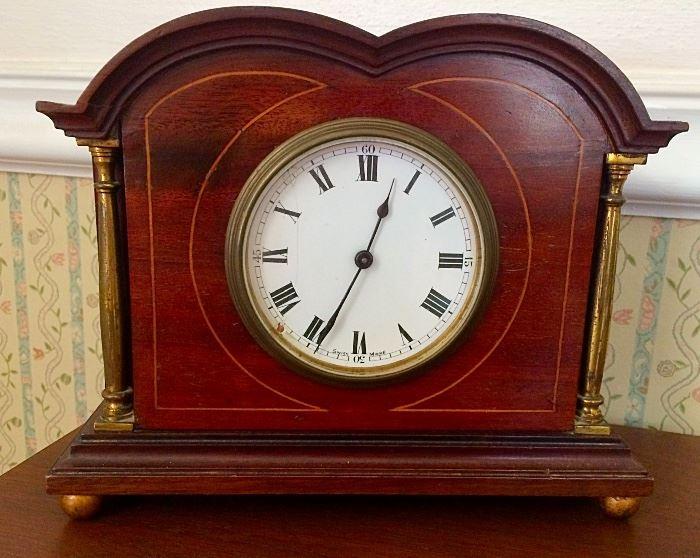 Handsome Semi-Antique Swiss Made Mahogany & Brass Mantle Clock
