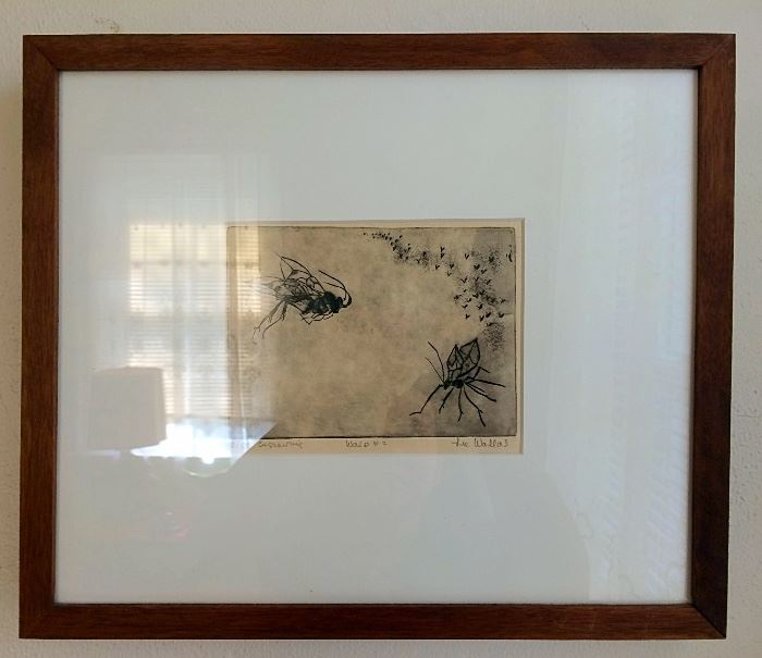 "Original Etching Entitled ""Wasp #4"" signed by Lee Wallas (American Visual Artist)"