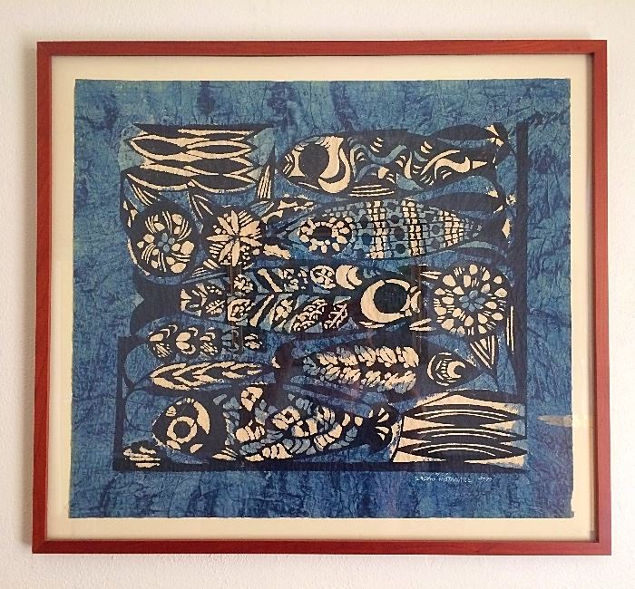 "Original Limited Framed ""Five Fish"" Stencil Print by Sadao Watanabe"