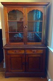 Antique Primitive China Cabinet / Hutch (Two Piece)
