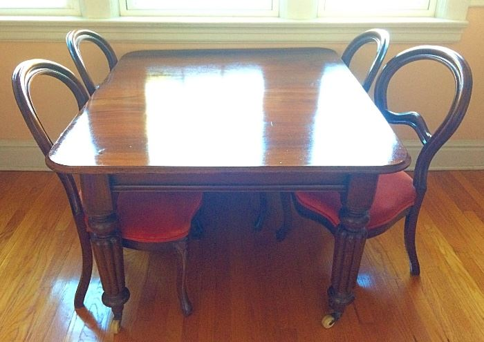 Gorgeous Semi-Antique Dining Room Table with Casters & Six Balloon Back Chairs